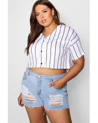 9f2652b7d Boohoo - Plus Stripe Crop Baseball Top - Lyst