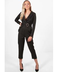 Boohoo | Sophie Premium Tailored O-ring Belted Jumpsuit | Lyst