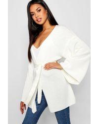 Boohoo - Kimono Belted Wrap Cardigan - Lyst