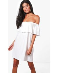 Boohoo | Pixie Off The Shoulder Swing Dress | Lyst