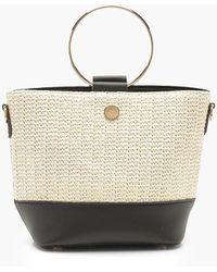 Boohoo - Ring Handle Straw Day Bag - Lyst
