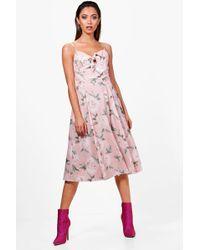 095f72e89f Lyst - Boohoo Boutique Daisy Scallop Trim Midi Skater Dress in Green