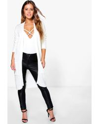 Boohoo - Petite Midi Length Cardigan With Pockets - Lyst