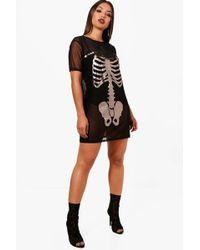 Boohoo - Halloween Cara Mesh Skeleton Print Dress - Lyst