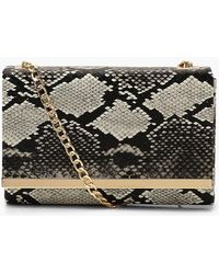 Boohoo - Faux Snake Structured Suedette Clutch Bag - Lyst