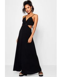 138cf30caa28 Boohoo Satin Strappy Ruched Maxi Dress in Black - Save 9% - Lyst