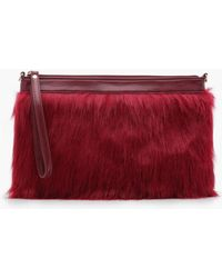 d914ec72681c Boohoo - Freya Faux Fur Clutch With Chain - Lyst