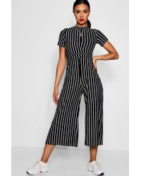 Boohoo - Striped Wrap Culotte Jumpsuit - Lyst