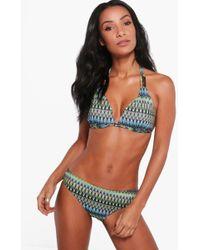 Boohoo - Carly Zig Zag Jacquard Enhance Triangle Bikini - Lyst