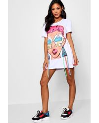 Boohoo - Face Print T Shirt Dress - Lyst