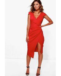 Boohoo - Cap Sleeve Wrap Midi Dress - Lyst