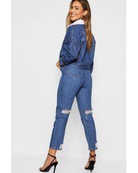 Boohoo - Distressed Back Straight Leg Jean - Lyst