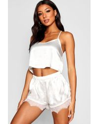 d324a608c90 Lyst - Dorothy Perkins Ivory Lace Back Camisole Pyjama Set in White