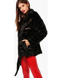 Boohoo - Olivia Boutique Faux Fur Aviator Jacket - Lyst