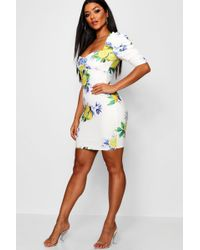 753e8e13af38 Boohoo - Ava Lemon Print Extreme Puff Sleeve Bodycon Dress - Lyst