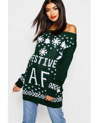1d15939ce41 Lyst - Boohoo Faye Festive Fleek Christmas Jumper in Gray