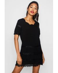 75d86f7d9cf1b Boohoo Pearl Detail Blazer Dress in Black - Lyst