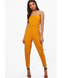 Boohoo | Sarah Bandeau Tailored Woven Slim Fit Jumpsuit | Lyst