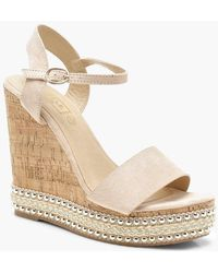 947b9a5d28bf Lyst - Boohoo Stud Trim Espadrille Wedges in Natural