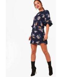 Boohoo - Petite Floral Shift Wrap Dress - Lyst