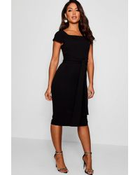 Boohoo - Cap Sleeve Tie Back Midi Dress - Lyst