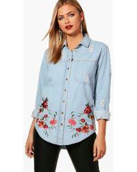Boohoo - Ellie Oversized Distressed Embroidered Denim Shirt - Lyst