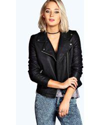 102ae7225 Boohoo Plus Maisie Pu Biker Jacket in Black - Lyst