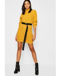 e84408560f Lyst - Boohoo Caitlin Cable Knitted Nep Jumper Dress in Blue