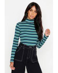 Boohoo - Rib Stripe Long Sleeve High Neck Top - Lyst
