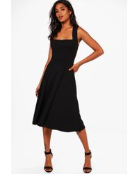 ccdad9ad19962 Lyst - Boohoo Maternity Square Neck Ribbed Midi Dress in Black