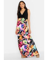 688324efdf245 Boohoo Plus Ruffle Tiered Mixed Print Maxi Dress in Black - Lyst