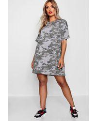 Boohoo - Plus Camo Print T Shirt Dress - Lyst