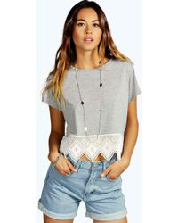 b4138a25e370b4 Boohoo Eliza Strappy Crop Top in Gray - Lyst