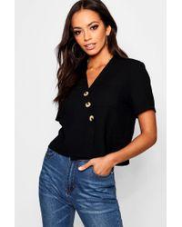 Boohoo - Horn Button Crop Shirt - Lyst