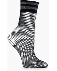Boohoo - Lacey Lurex Stripe Top Fishnet Socks - Lyst