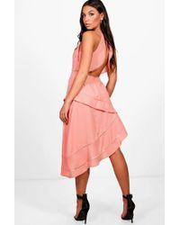 Boohoo - Boutique Open Back Asymmetric Dress - Lyst