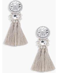 Boohoo - Floral Metallic Tassel Bead Statement Earrings - Lyst