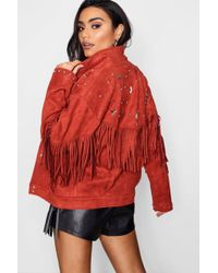 Boohoo - Faye Fringe Suedette Jacket With Star Studs - Lyst