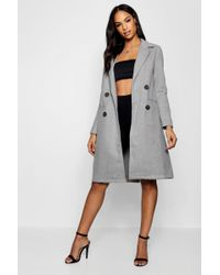 Boohoo - Double Breasted Wool Look Coat - Lyst