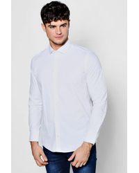 Boohoo - Slim Fit Stretchy Cutaway Collar Shirt - Lyst