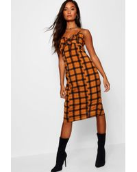 db3a1e724795 Boohoo - Check Tie Front Midi Dress - Lyst