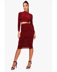fb781a4b73d Boohoo Slinky Seam Detail Bodice Skirt Co-ord Set in Red - Lyst