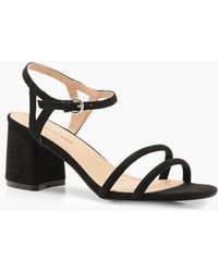 e9e292d7db75 Lyst - Boohoo Extra Wide Fit Multi Buckle Caged Heels in Black