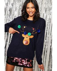 3bb029d4a57c1 Boohoo Paige Pom Pom Xmas Pudding Christmas Jumper in Red - Lyst