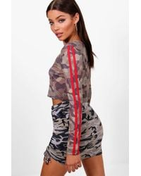 Boohoo - Sophia Camo Sports Stripe Long Sleeve Crop - Lyst