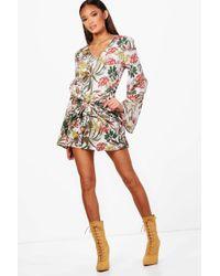 Boohoo - Rora Palm Print Wrap Front Kimono Sleeve Dress - Lyst