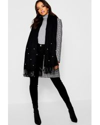 Boohoo - Pearl Embellished Woven Scarf - Lyst