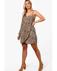 Buy Cheap Enjoy New For Sale Boohoo Plus Bustier Ruched Front Leopard Mini Dress KgeyGEhou