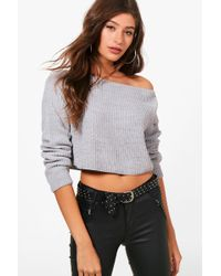 Boohoo - Leah Crop Slash Neck Jumper - Lyst