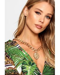 Boohoo - Ria Lion Charm Chunky Chain Necklace - Lyst